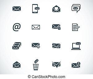 vector, negro, email, iconos, conjunto