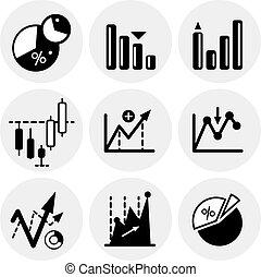 vector, negro, estadística, iconos