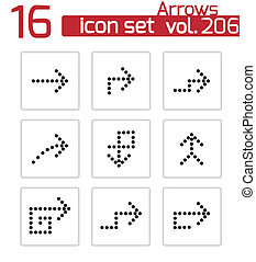 vector, negro, flechas, iconos, conjunto