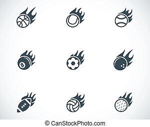 vector, negro, fuego, deporte, pelotas, iconos, conjunto