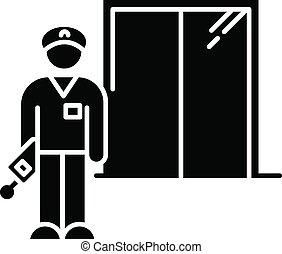 vector, negro, hotel, dormitorio, glyph, security., guard., ...
