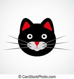 vector, negro, ilustración, cat., cara