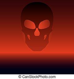 vector, negro, ilustración, cráneo