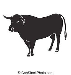 vector, negro, ilustración, toro