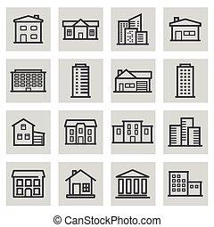 vector, negro, línea, edificio, iconos, conjunto