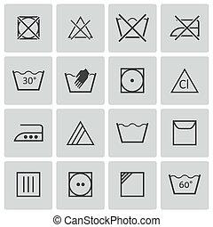 vector, negro, lavado, iconos, conjunto