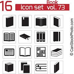 vector, negro, libro, conjunto, iconos