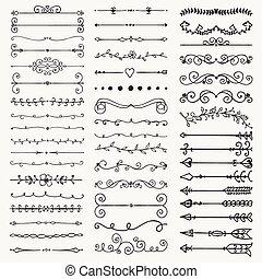 vector, negro, mano, dibujado, divisores, flechas, remolinos