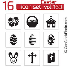 vector, negro, pascua, iconos, conjunto