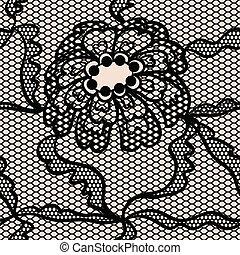 vector, negro, patrón, encaje, seamless, tela