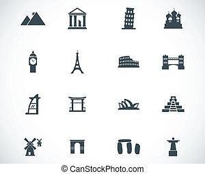 vector, negro, señal, iconos, conjunto