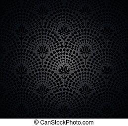 vector, negro, seamless, pauta papel pintado