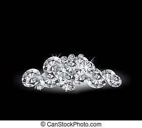 vector, negro, superficie, diamantes