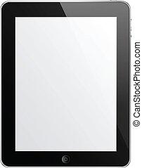 vector, negro, tableta