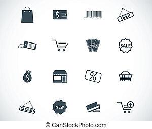 vector, negro, tienda, iconos, conjunto