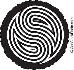 vector, negro y blanco, de madera, registro, corte, con, yin símbolo yang