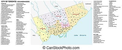 Vector neighborhood map of the Canadian city of Toronto