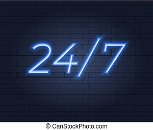 Vector Neon 24 7 Icon, Shining Banner Template, Blue Glowing Lines.