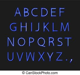 Vector Neon Alphabet Isolated on Dark Background, Bright Blue Light, Uppercase Font.