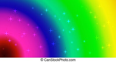 Vector neon background with rainbow circles.