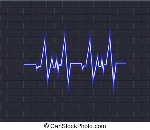 Vector Neon Blue Pulse, Glowing Icon on Dark Background, Heartbeat Illustration.