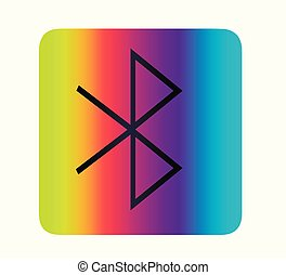Vector neon bluetooth icon. Network and transmission symbol.