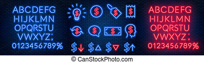 Vector neon financial signs on dark background. Signs of exchange, appreciation and depreciation, prices, business ideas, speech bubble and others. Neon alphabets with numbers.
