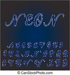 Vector neon font