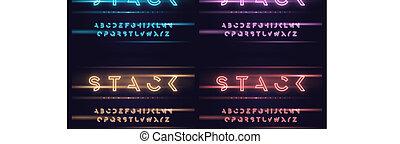 Vector neon futuristic display typeface, font, alphabet