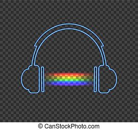 Vector Neon Headphones and Rainbow Abstract Light.
