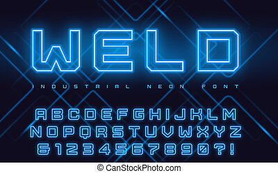 Vector neon industrial style display typeface, font, alphabet