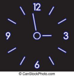 vector, neon, klok