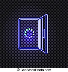 Vector Neon Laptop with Loading Circle Icon, Glowing Illustration.