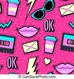 Vector neon pop background 80s, 90s