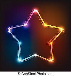 Vector neon star, illuminated neon billboard