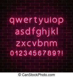 Vector neon style font. Glowing red neon alphabet with lowercase letters on dark brick wall background. You can made your words with it.