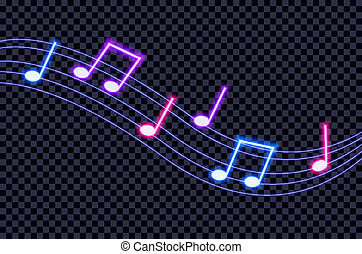 Vector Neon Ultraviolet Colorful Music Notes on Dark Background Illustration.