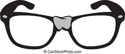 Vector Cartoon Illustration of nerd style black frame glasses with tape on center.