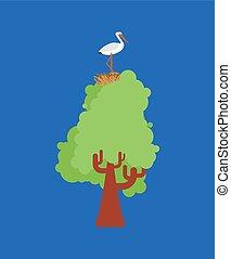 vector, nest, illustratie, ooievaar, boom., vogel