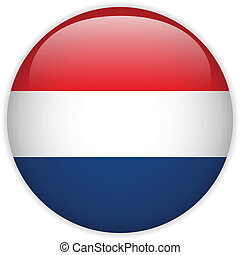 Netherlands Flag Glossy Button - Vector - Netherlands Flag...