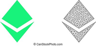 Vector Network Mesh Crystal and Flat Icon