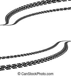 vector, neumático, ilustración, impresiones