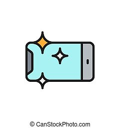 Vector new smartphone, shine phone flat color line icon.