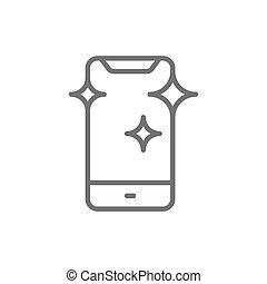 Vector new smartphone, shine phone line icon.