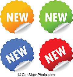 Vector new stickers - New stickers set, vector illustration