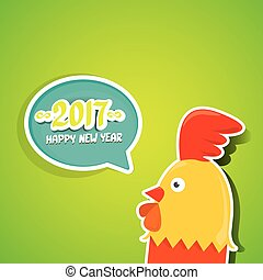 vector new year 2017 with cartoon funny rooster