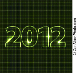 Vector New Year card 2012 - green neon numbers