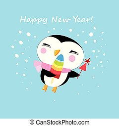 Vector New Year greeting card with penguin