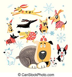 Vector New Year set of different funny dogs