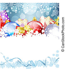 Vector New Year's Eve, Christmas background with balls and gifts